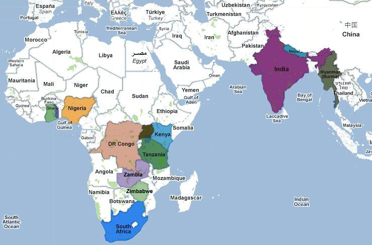 Map Of Africa And India  Deboomfotografie
