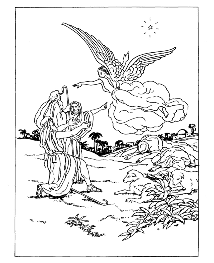 Messengers of the christmas gospel for Angels announce jesus birth coloring pages